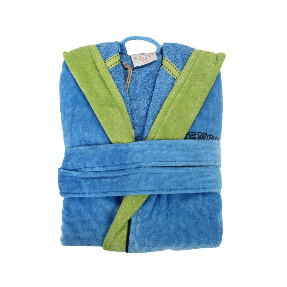 Ecocotton Organic Cotton 9-10 Years Kids Bathrobe - Offence Blue