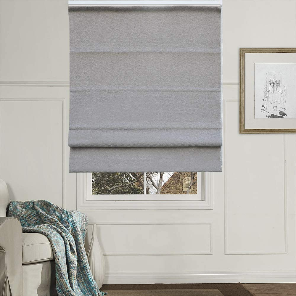 Artdix Roman Shades Blinds Window Shades - Grey 59 W x 36 H Inches (1 Piece) Blackout Solid Thermal Fabric Custom Made Roman Shades for Windows, Doors, Home, Kitchen, Living Room