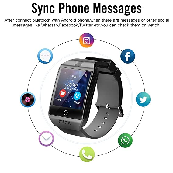 Amazon.com : WTGJZN Bluetooth Q18 Smart Watch Fitness Tracker Smartwatch Relogio Relojes Watch Camera for iOS Apple Huawei Android Phones, Black : Sports & ...