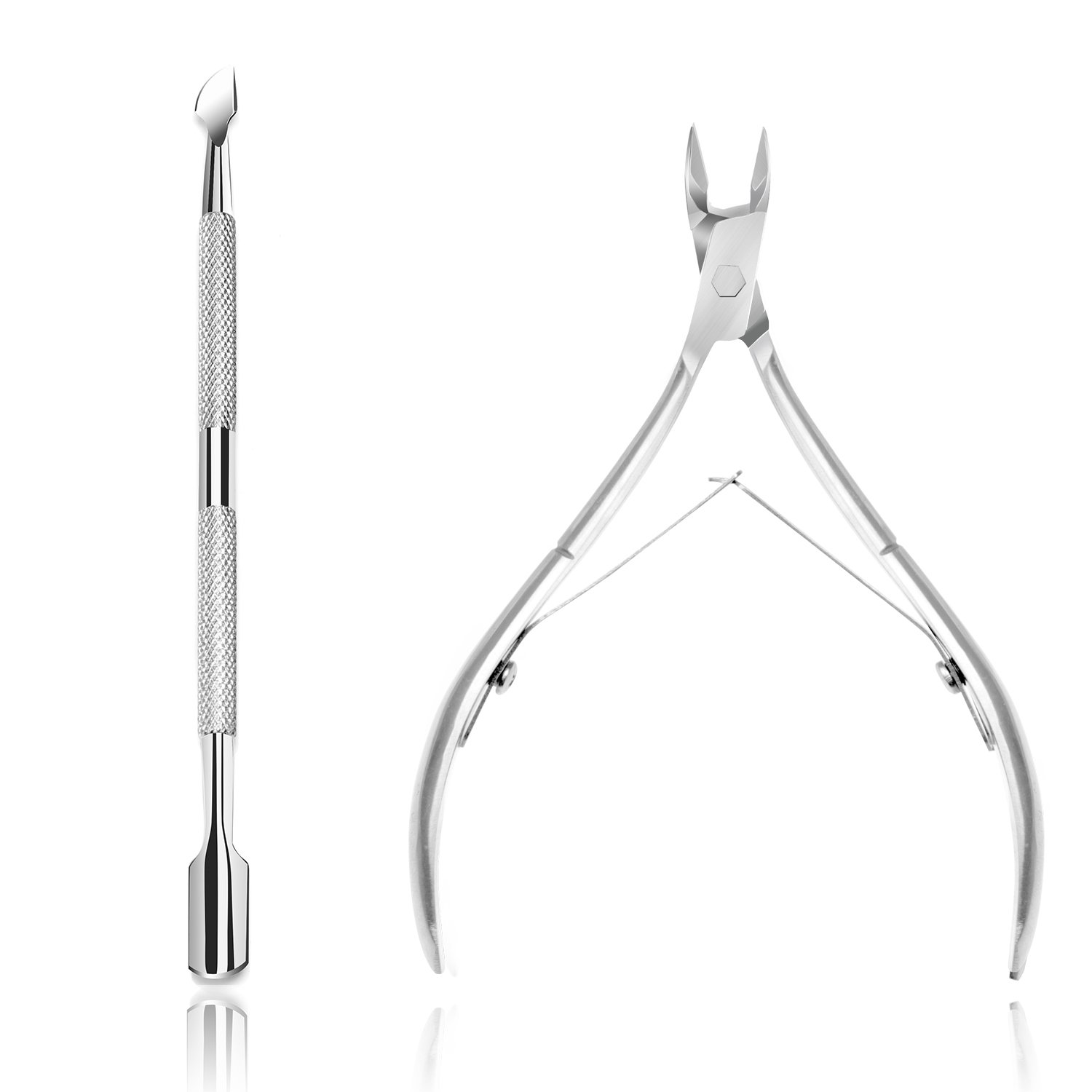 Ejiubas Cuticle Pusher Cuticle Nipper Stainless Steel Cuticle Trimmer Cuticle Remover Tool Set for Fingernails and Toenails Pedicure Manicure Tools Silver