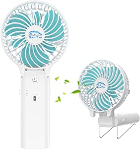 HandFan Portable Personal Fan Battery Operated with 5-20 Hours Working Time&5200mAh Power Bank, Handheld Cooling Fan Rechargeable USB Desk Fan 3 Speeds/Strong Airflow for Home Office Outdoors Camping Travel