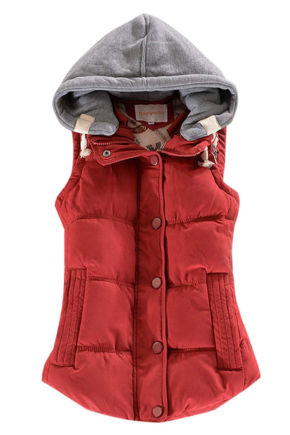 Sopliagon Womens Quilted Packable Down Vest Removable Hooded Waistcoat Plus Size
