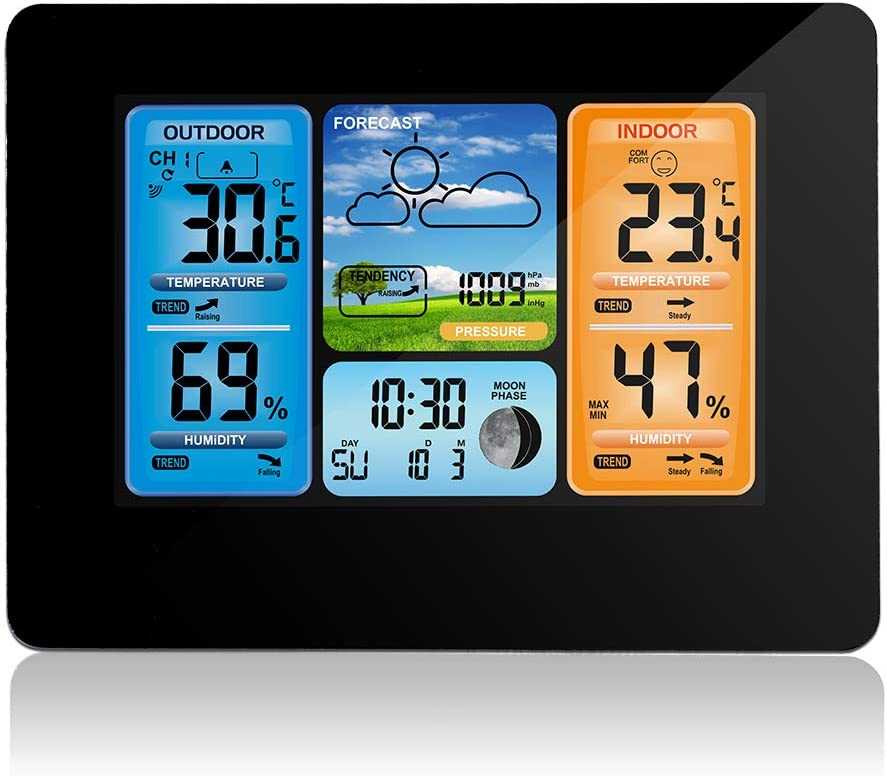 Home Weather Stations Wireless Indoor Outdoor, Color Weather Forecast Station, Digital Wireless Weather Station Thermometer,Barometer,Temperature and Humidity Monitor Alerts