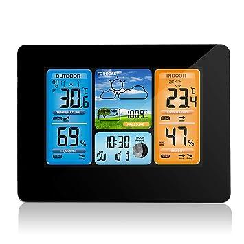0ac476c91 Allomn - Estación meteorológica inalámbrica con sensor inalámbrico para  interiores y exteriores, termómetro/higrómetro/barómetro, despertador, ...