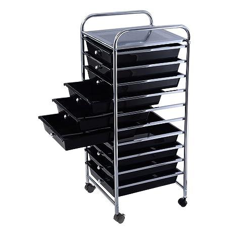 10 Drawer Plastic Rolling Storage Cart Scrapbook Paper Office School Metal  Mobile Organizer Black Drawer