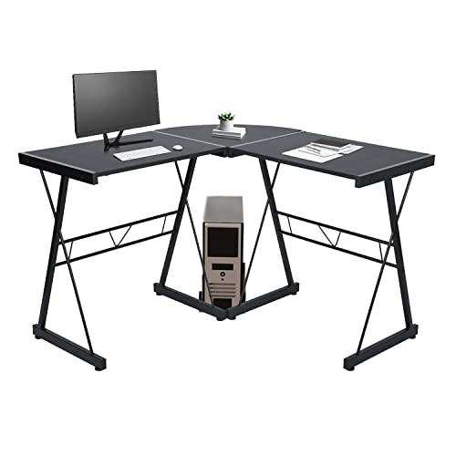 GreenForest L Shaped Corner Desk, Industrial Style Computer Gaming Desk PC Laptop Workstation for Home Office, Black