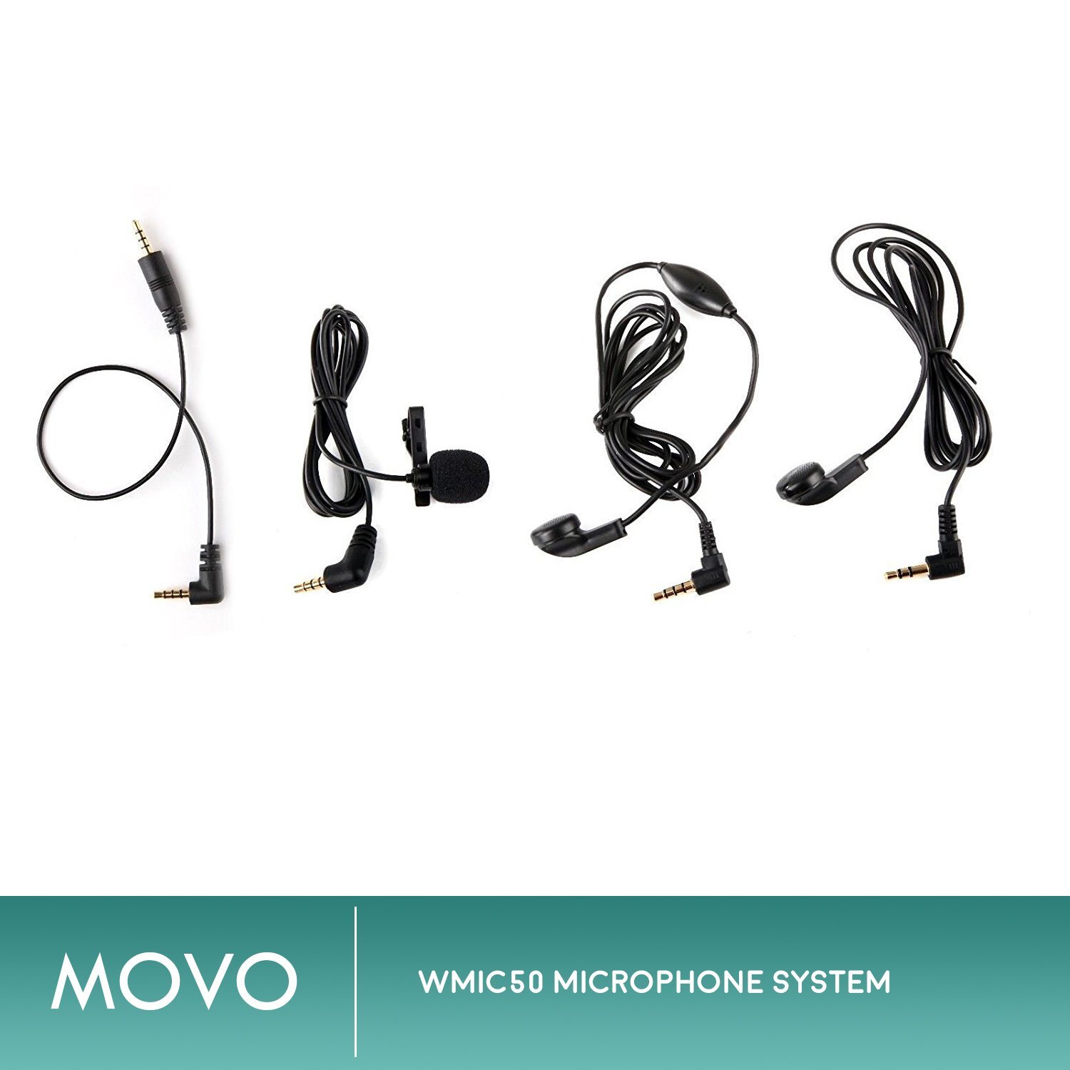 Movo WMIC50 2.4GHz Wireless Lavalier Microphone System with Integrated 164-foot Range Antenna (Includes Transmitter with Belt Clip, Receiver with Camera Shoe, Lavalier and 2 Earphones) by Movo (Image #6)