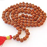 Storite Rudraksha Mala 108 Beads Necklace, Seed Bead Natural Himalaya Rudraksha Seed Prayer Beads Wrist Mala Wrap Bracelet Bead Size 9 mm (10 Pack) (10 Pack)