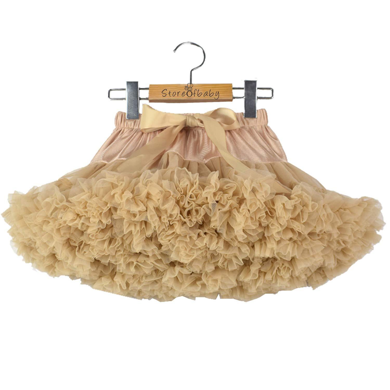 storeofbaby Girls Tutu Skirt Pleated Chiffon Ballet Dance Petticoat Mini Short Dress Khaki by storeofbaby