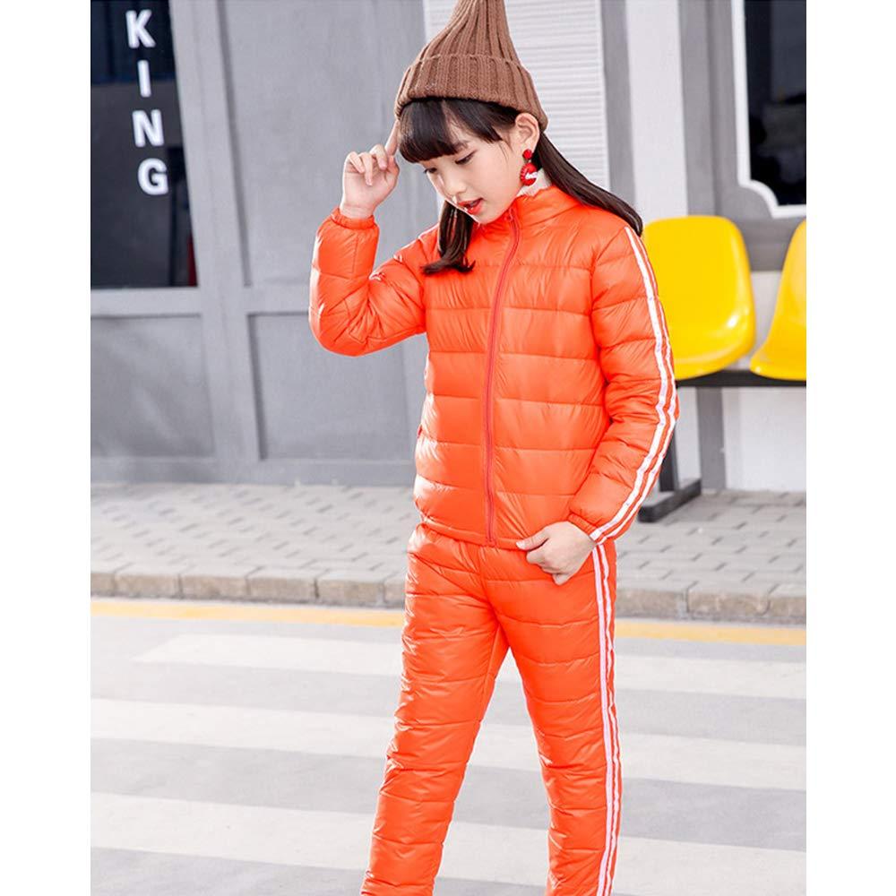 DAZISEN Kids Winter Snowsuit 2 Piece Newest Down Coat and Pants Set