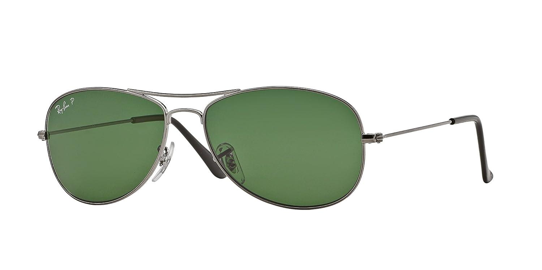 7e0dd089fe Ray Ban Sunglasses RB 3362 Cockpit RB3362 004 58 Metal Gun Grey Green  polarised  Amazon.co.uk  Clothing