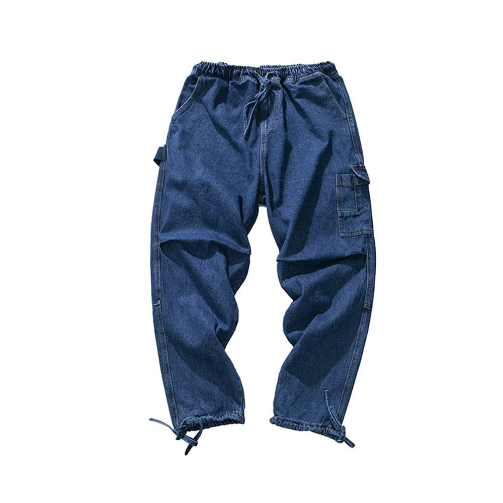 EVEORSSRA Jeanshosen Retro Jugend-Wasser-Overall-niedrige lose beiläufige Jeans-Flut-Männer Niedrig Crotch Cross Pants
