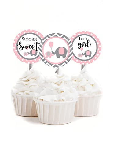 Amazon Com Little Peanut Baby Shower Cupcake Toppers Yellow Pink