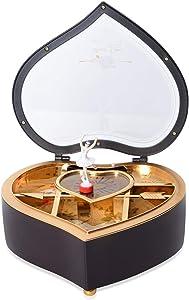 Shop LC Delivering Joy Brown Valentine Heart Shaped Rotating Dancer Ballerina Figurine Musical Trinket Fashion Jewelry Box