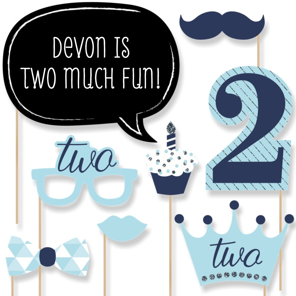 Custom Two Much Fun - Boy - Personalized 2nd Birthday Party Photo Booth Props Kit - Blue Birthday Party Decorations - 20 Selfie Props
