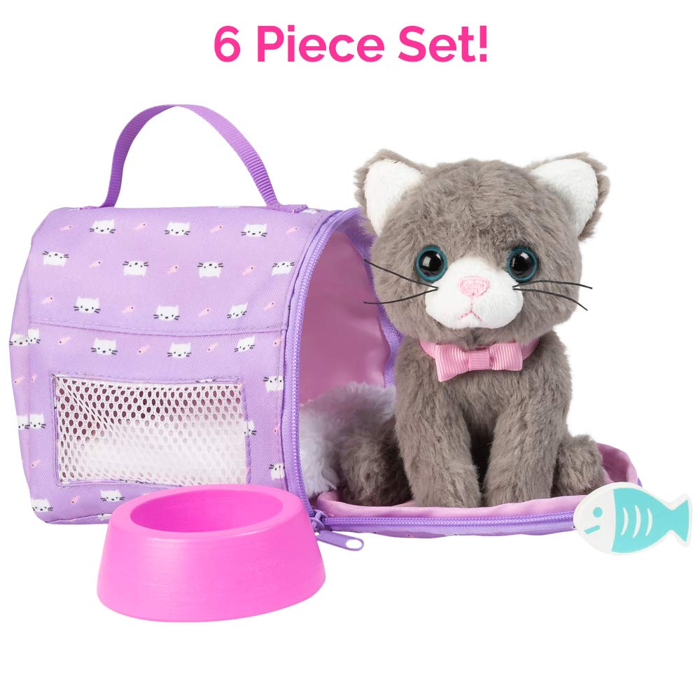 """Adora Amazing Pets """"Misty the Grey Kitty"""" – 18"""" Doll Accessory includes 4.5"""" Cat, Cat Carrier, Bed, Collar, Wooden Bowl and Fish (Amazon Exclusive)"""
