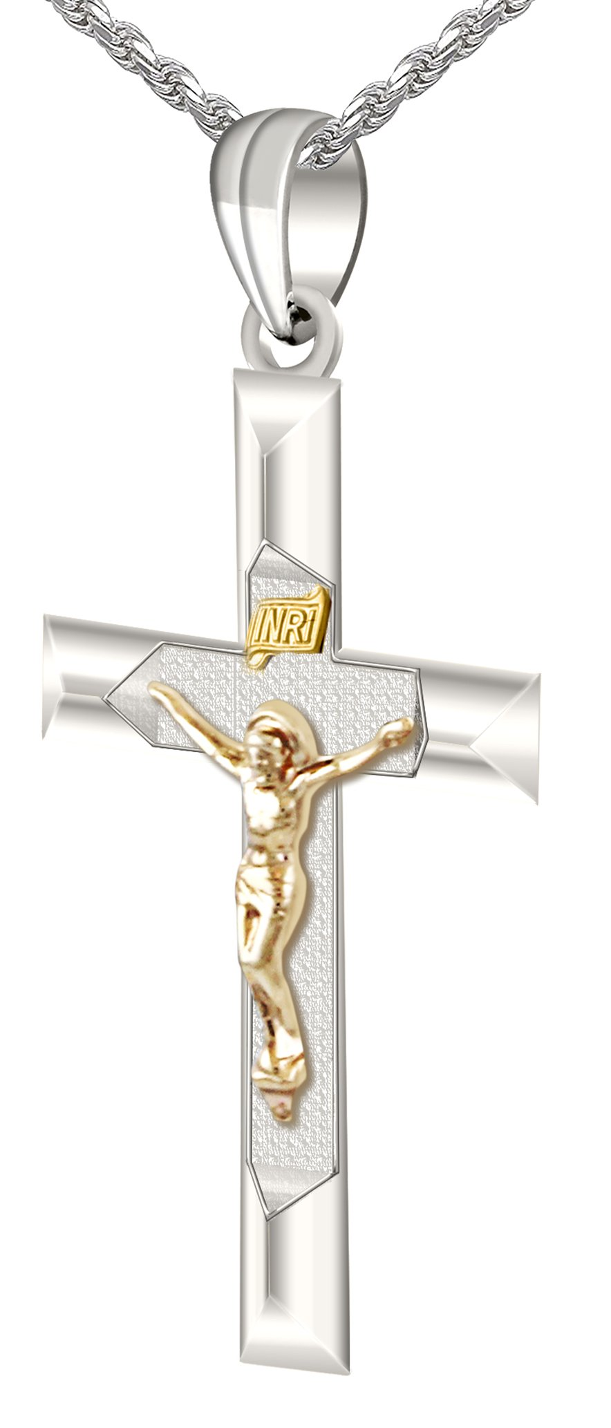 1.25'' Solid 0.925 Sterling Silver and 14k Gold Crucifix High Polished Pendant 3.0mm Figaro Necklace, 24''
