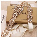 Yanstar Handmade Gold Crystal Bridal Belts Cream Sashes Wedding Belt With Rhinestones For Wedding Bridesmaid Dress (Gold-Ivory)