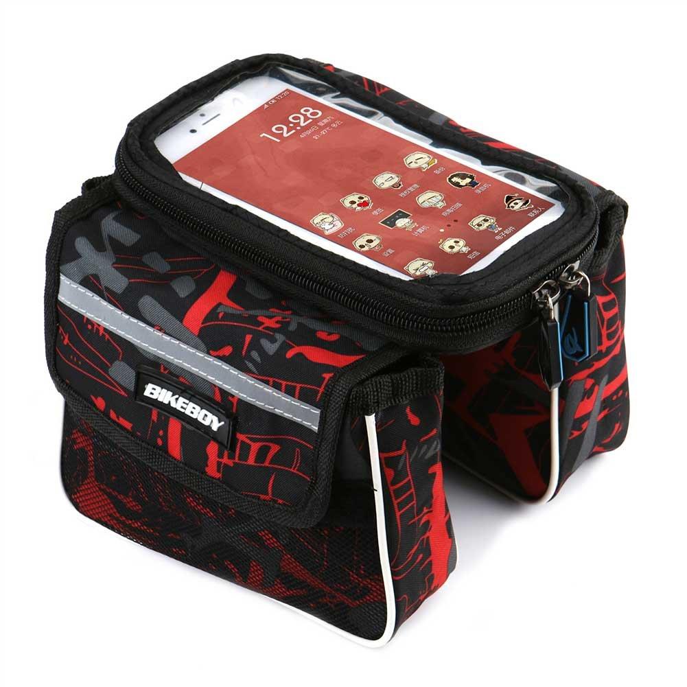 Dr nezix防水フロントトップチューブPannier Bikeフレームストレージバッグ携帯電話ホルダーfor 6.2インチ画面 B0756XQ6X7 レッド レッド