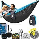 Double Camping Hammock With Straps – UNIQUE 4in1│Complete Fast Setup Hammocks Bundle, Waterproof, Lightweight Parachute Nylon, in Compression Tree Sack Blue