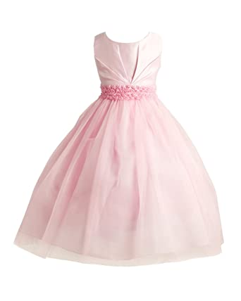 afee3b50b95 Amazon.com  Joy Kids Girls Pleated Satin Pearl Special Occasion Flower Girl  Dress 2 to 20  Clothing
