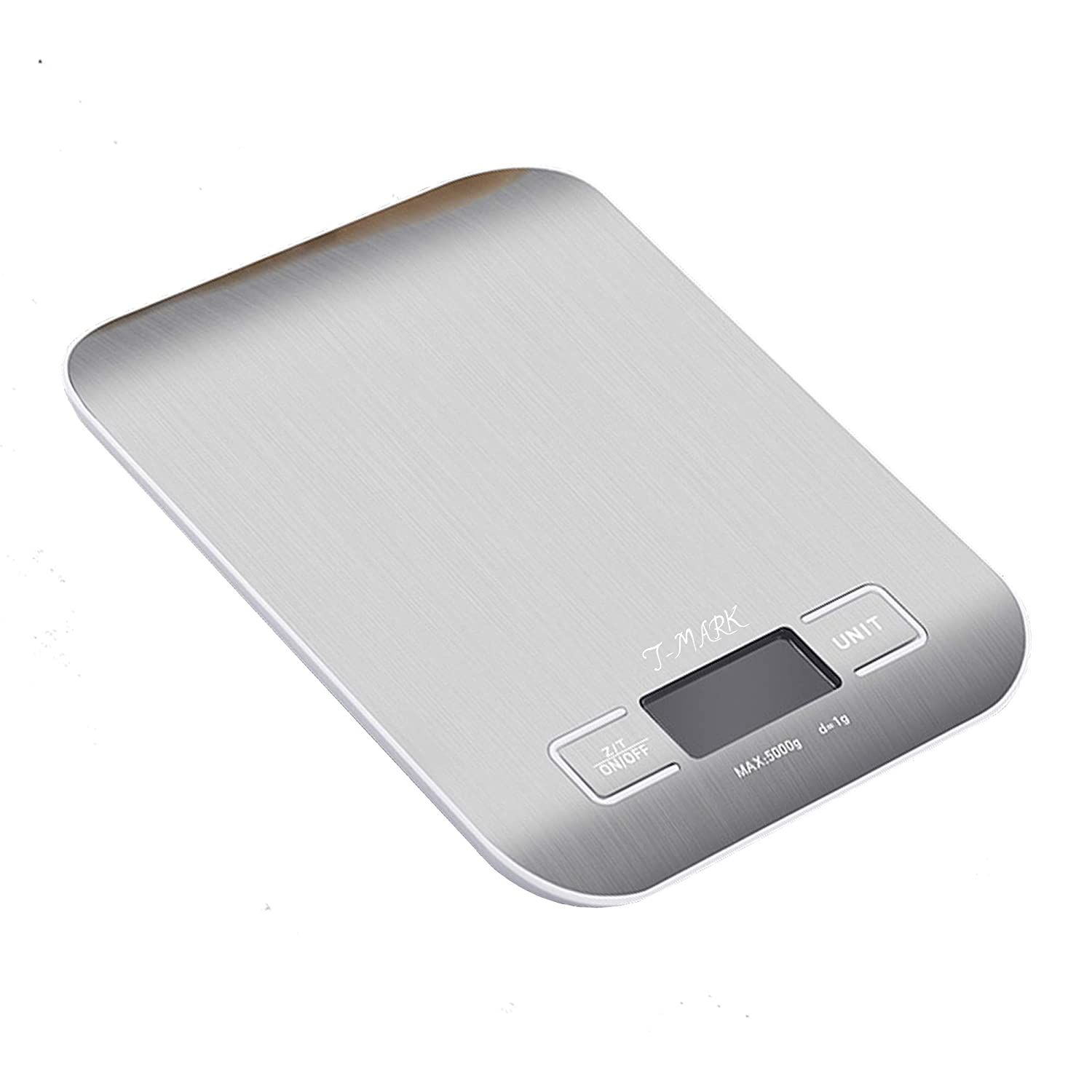 T-mark Digital Kitchen Scale Food Scale,Food Grade Balance Scale 0.04oz/1g Increment,11 lb/5 kg,Backlit LCD Display Function(Batteries Included AAAX2),Stainless Steel