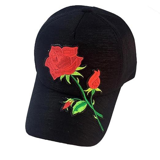 7f864968aefac Challyhope Fashion Applique Rose Baseball Cap Unisex Snapback Hip Hop Flat Hat  Summer Sun Hat for