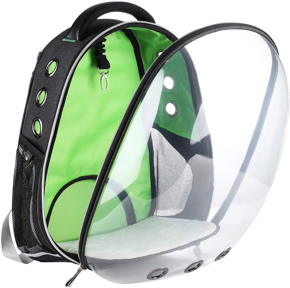 LEMONDA Creative Transparent Pet Backpack Carrier Breathable Capsule Traveler Airline Approved for Cats and Dogs