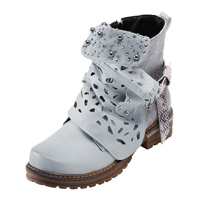 YiYLunneo Calzado Botas Nieve Mujer Invierno Botines Plataforma Hebillas Cuero para Huecas con Perlas Cremallera: Amazon.es: Ropa y accesorios