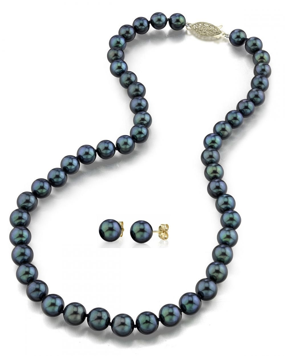 14K Gold 6.5-7.0mm Black Akoya Cultured Pearl Necklace & Earrings Set, 18'' Length - AA+ Quality