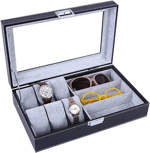 GOVD Estuche para Relojes PU Cuero Estuche para Guardar Relojes para almacenar Relojes, Negro: Amazon.es: Hogar