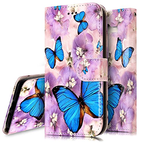 Galaxy J2 Prime Case,Galaxy J2 Prime Wallet Case, PHEZEN Blue Butterfly Design Pu Leather Wallet Case with Card Slots Stand Book Style Folio Flip Cover For Samsung Galaxy J2 Prime, Butterfly
