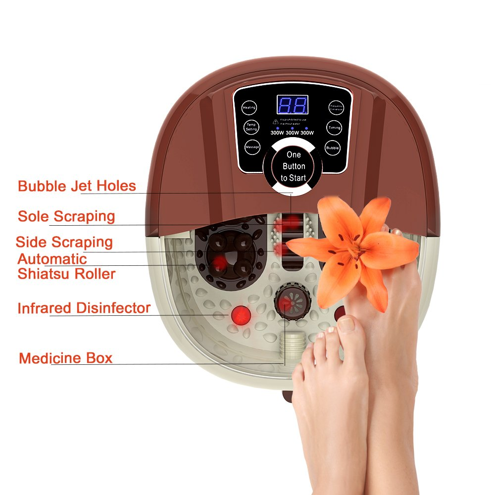 All in One Foot Spa Massage With Motorized Rolling Massage 4 Pro-set Program – Heating, Rolling Massage, Temperature Setting