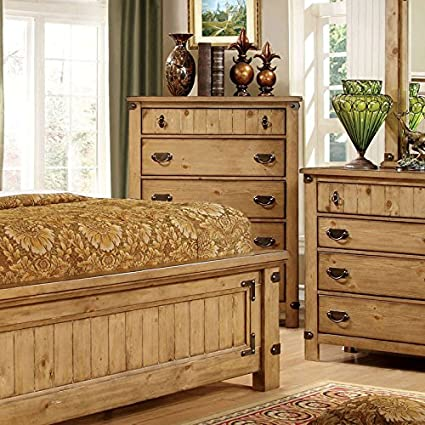 Amazon Com Pioneer Country Style Weathered Elm Finish King Size 6 Piece Bedroom Set Kitchen Dining