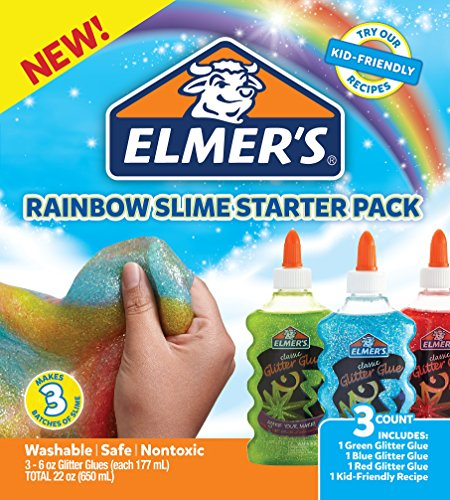 Elmer's Rainbow Slime Starter Kit with Green, Blue and Red Glitter Glue, 6 Ounces Each, 3 Count