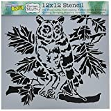 CRAFTERS WORKSHOP TCW609 Template, 12'' x 12'', Curious Owl, White