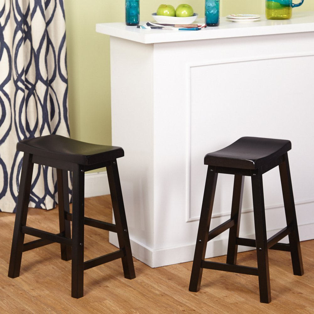 Amazon.com Target Marketing Systems Set of 2 24-Inch Belfast Wooden Saddle Stools Set of 2 Black Kitchen u0026 Dining : saddle stool 24 inch - islam-shia.org