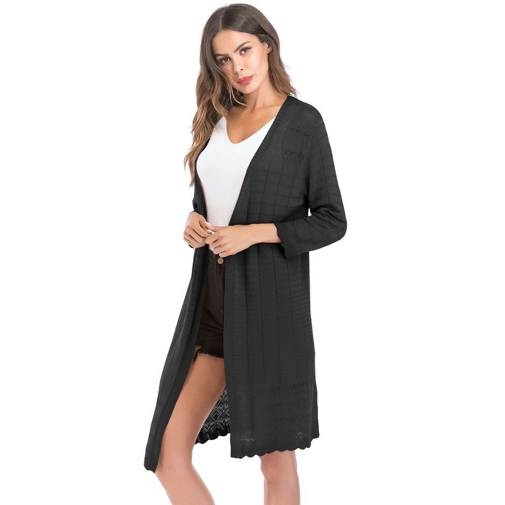 HHei_K Womens Casual Loose Hollow Patchwork Solid Knit Tassel Long Sleeve Cardigan Coat Outwear by HHei_K (Image #1)
