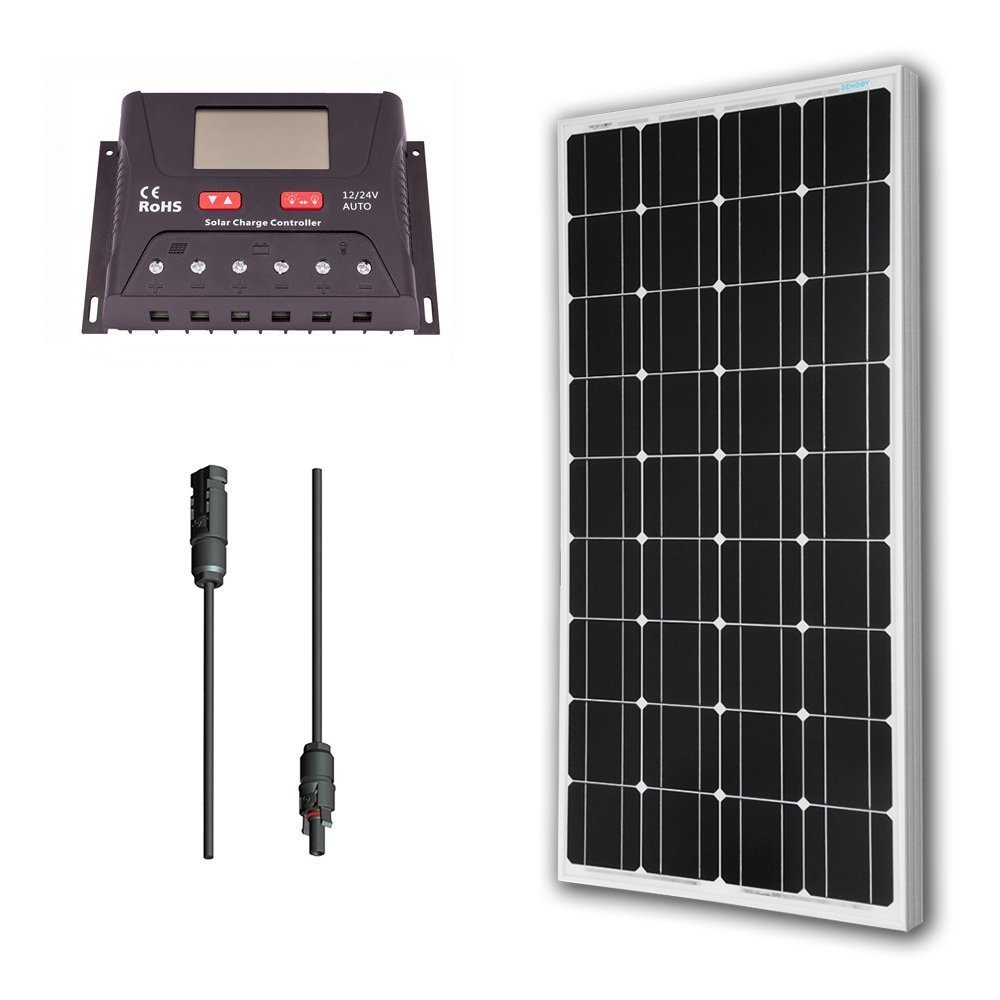 Renogy 100 Watt 12V Monocrystalline Solar Bundle Kit With 30A PWM Charge Controller