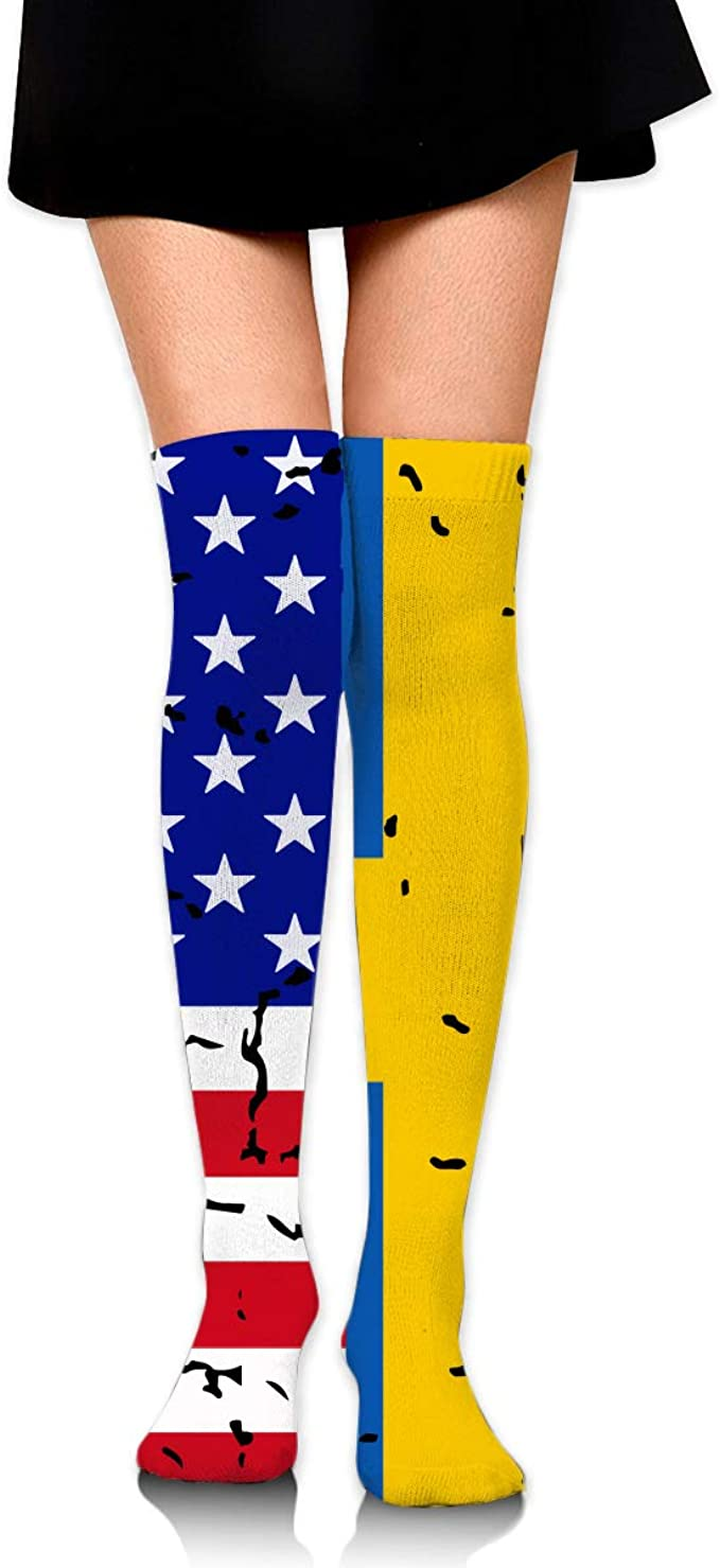 Unisex USA LGBT Flag Knee High Compression Thigh High Socks Soft Socks