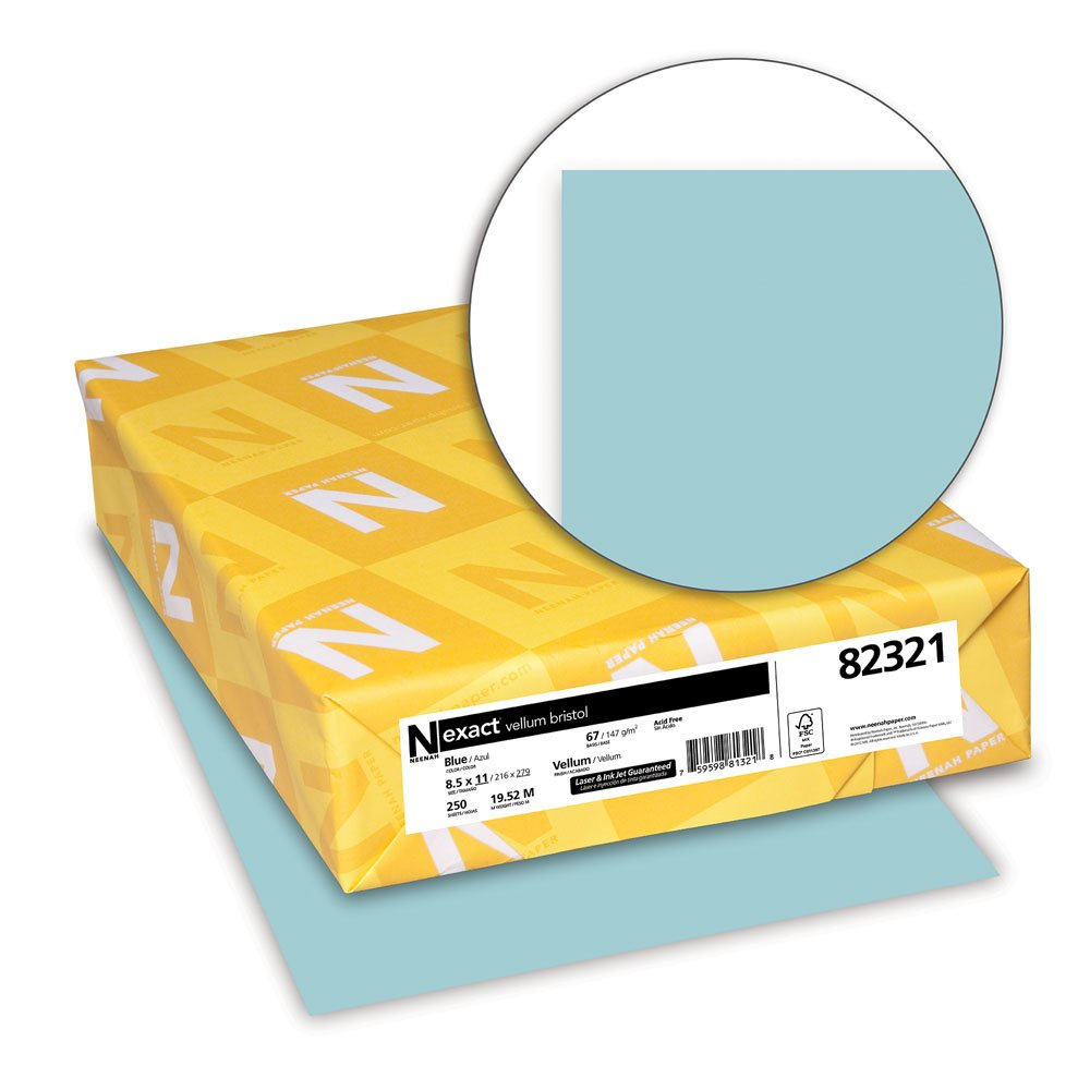 Amazon.com : Neenah Exact Vellum Bristol, 67 Lb, 8.5 X 11 Inches, 250  Sheets, Blue : Pastel Paper : Office Products