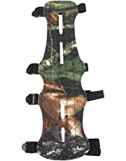 F Fityle Camo Leather Shooting Target Archery Arm Guard Safe 4 Straps Protector Gear