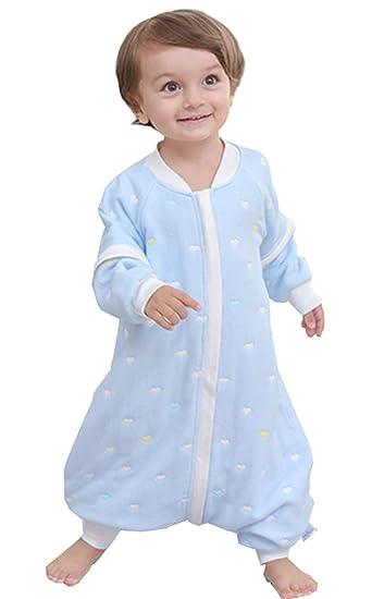L//Baby H/öhe 85-95cm, Blau Sterne Chilsuessy Baby Schlafsack mit Beinen leicht gef/üttert 1.5 Tog Ganzjahres Schlafsack mit abnehmbar Langarm Kinder Winter Schlafsack aus 100/% Baumwolle