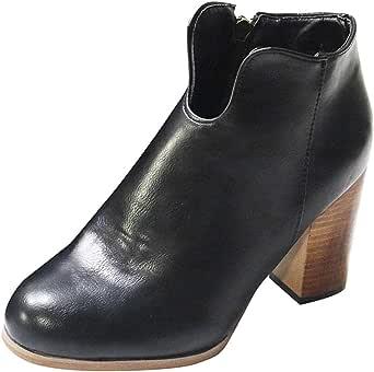 Posional Mujer Tacones Altos Botas Cortas De Invierno Botines Cortos De Moda De Casual Roma Retro Cremallera Tacones Cuadrados Zapatos De Plataforma Romana Zapato De Cremallera De TacóN Alto