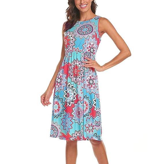 Vestido de Bolsillo con Cintura elástica de Mujer,Vestido de Fiesta de Vestido