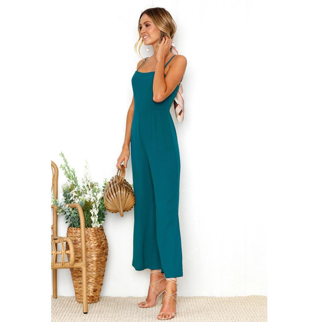 Xjp Womens Casual Solid Spaghetti Strap Jumpsuits Loose Trousers Playsuit: Amazon.co.uk: Clothing
