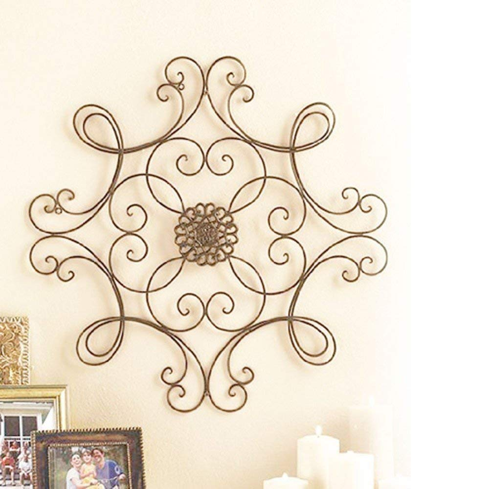 Besti Square Scrolled Metal Wall Medallion Decor - 24-1/2'' for Indoor and Outdoor Use – Eye Catching Wall Decor