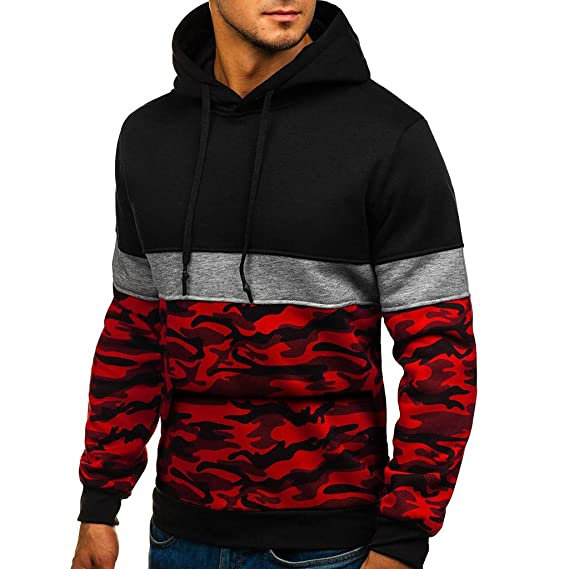 certainPL Hooded Sweatshirt for Men, Fashion Mens Casual Tops Slim Fit  Sweatshirts Color Block Camouflage Print Stitching Long Sleeve Spring  Pullover Hooded Sport Tops: Amazon.in: Clothing & Accessories