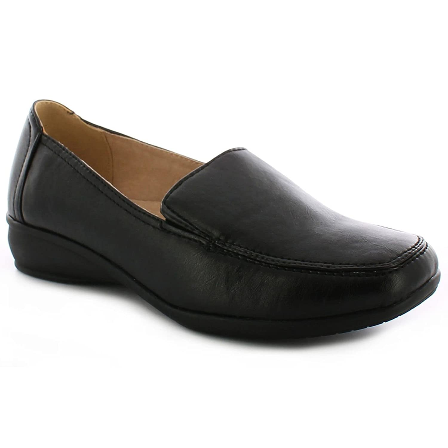 0e3b4e3300e32 Dr Keller Womens Wide Fitting Shoes Ladies Lightweight Moccasin Flat Low  Wedge FIT Comfort Smart Casual Formal Office Work Leather Lined Light  Weight Loafer ...