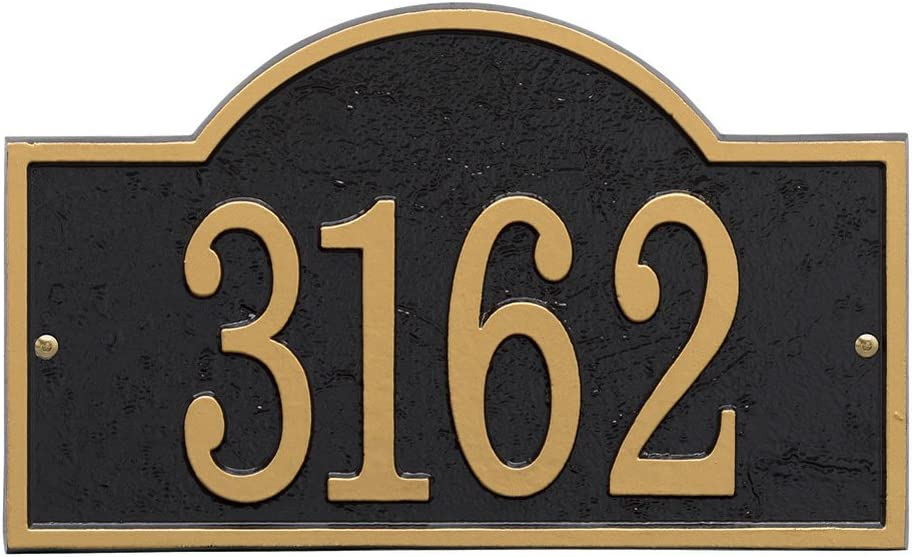 "Whitehall Personalized Cast Metal Address Plaque - Custom House Number Sign - Arched Rectangle (12"" x 7.25"") - Black with Gold Numbers"